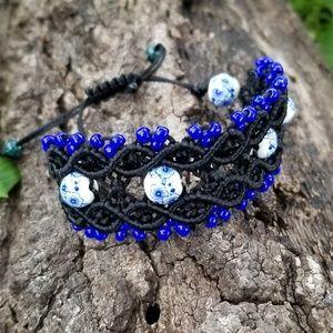 Jewelry - Black and Blue Macrame Bracelet: BOHO/Handmade/Cer